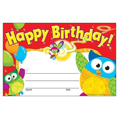 Trend Enterprises® Owl-Stars!™ Recognition Award, Happy Birthday, 2/Bd