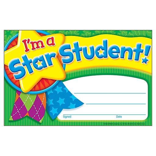 Trend Enterprises® Recognition Award, I'm A Star Student, Multicolor, 30/pkg, (T-81050)
