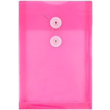 JAM PaperMD – Enveloppes en plastique avec fermeture à bouton et ficelle, 6 1/4 x 9 1/4 po, fuchsia, paq.12