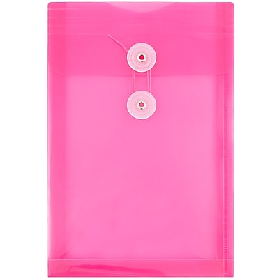 JAM Paper® Plastic Envelopes with Button and String Tie Closure, Open End, 6.25 x 9.25, Fuchsia Pink Poly, 12/pack (472B1FU)