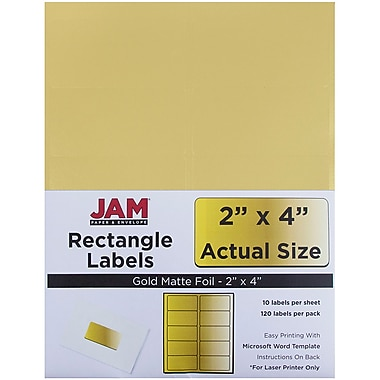 JAM Paper® Mailing Address Labels, 2 x 4, Gold Metallic, 120/pack (40732538)