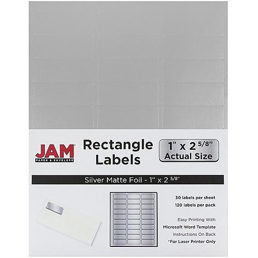 jam paper mailing address labels 1 x 2 5 8 silver metallic 120