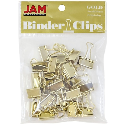 JAM Paper® Binder Clips, Small, 19mm, Gold Binderclips, 25/pack (334BCgo)