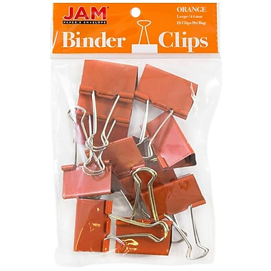 JAM Paper® Binder Clips, Large, 41 mm, Orange, 12/Pack (340BCor)