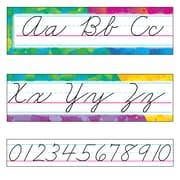 Trend Enterprises® Bulletin Board Set, Color Splash Alphabet Line, Zaner-Bloser Cursive, 9/PK, 2 PK/BD