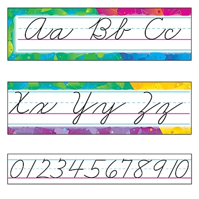 Trend Enterprises® Bulletin Board Set, Color Splash Alphabet Line, Zaner-Bloser Cursive, 9/PK, 2 PK/BD