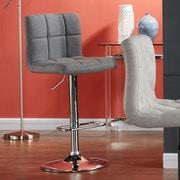 WorldWide HomeFurnishings Adjustable Height Swivel Bar Stool (Set of 2); Gray