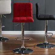 WorldWide HomeFurnishings Adjustable Height Swivel Bar Stool (Set of 2); Red