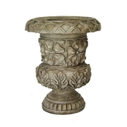 Heather Ann Resin Urn Planter; Gray/Tan