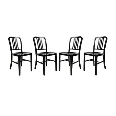 LeisureMod Alton Modern Side Chair (Set of 4); Black