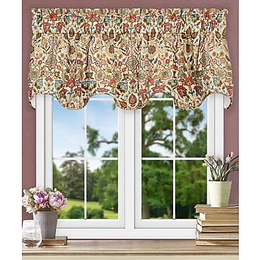 Ellis Curtain Adelle Jacobean Floral Lined Scallop 70'' Curtain Valance; Red