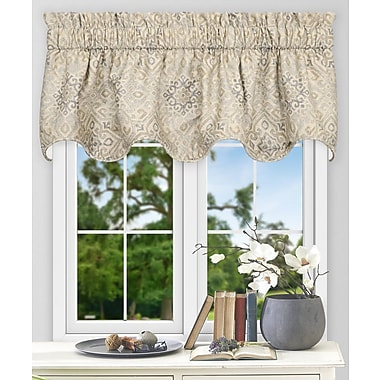 Ellis Curtain Miramar Medallion 70'' Curtain Valance; Platinum