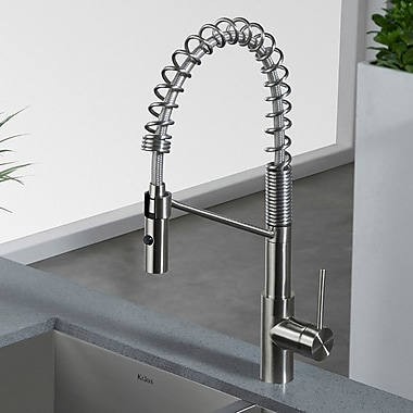 Kraus Oletto Pull Down Single Handle Kitchen Faucet; Stainless Steel
