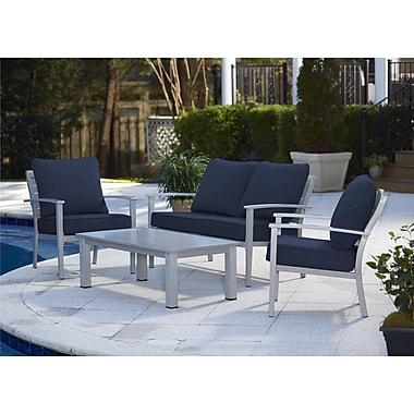 Cosco – Ensemble de meubles de patio en aluminium, 4 pièces, bleu marine (0088580BGBTE)