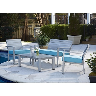 Cosco – Ensemble de meubles de patio en aluminium, 4 pièces, sarcelle (0088580STQTE)