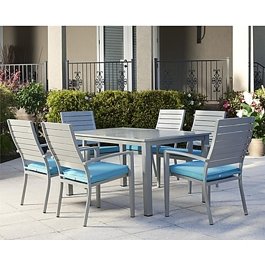 Cosco – Ensemble de salle à manger pour patio, aluminium, 7 pièces, sarcelle (0088587STQE)