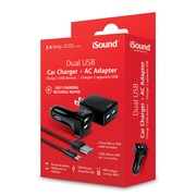 iSound Dual Car Charger with AC Adapter, 2.4 A (ISOUND-6857)