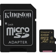 Kingston  Class 10/UHS-I microSDHC Memory Card with SD Adapter, 64GB (SDCA10/64GB)