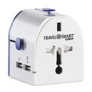 Travel Smart® All-in-One International Adapter with 2 USB Ports, White (TS241AP)