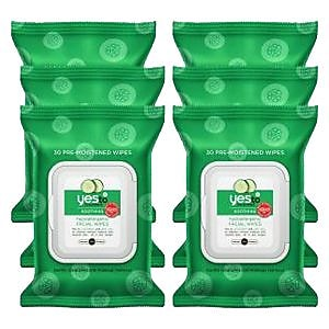 Yes To Cucumbers Hypoallergenic Facial Wipes Kit, 6/Pack (391028-6-KIT) IM14L5602