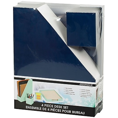 Merangue 4-Piece Paper Desk Set, Blue