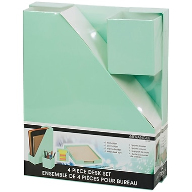 Merangue 4-Piece Paper Desk Set, Green