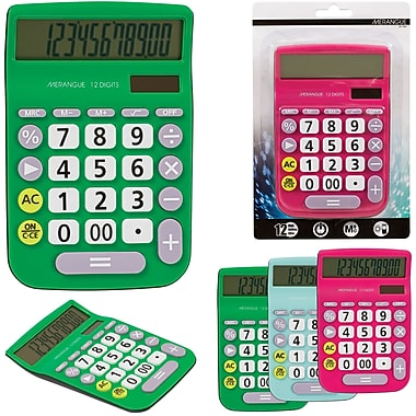 Merangue 12-Digit Desktop Calculator, Assorted Colours, 12/Pack