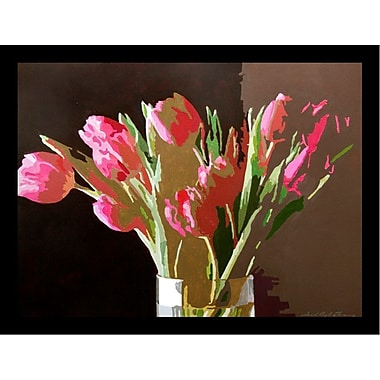 Buy Art For Less 'Pink Tulips in Glass' by David Lloyd Glover Framed Painting Print