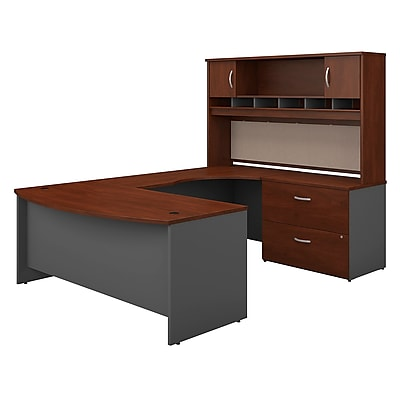 Bush Business Westfield 72W Bowfront RH U-Station with 2-Door Hutch and Lateral File, Hansen Cherry/Graphite Gray, Installed