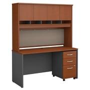 Bush Business Furniture Westfield 60W Office Desk with Hutch and Mobile File Cabinet, Auburn Maple, Installed (SRC014AUSUFA)
