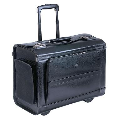 Mancini - Porte-documents sur roulettes en cuir noir, collection Business