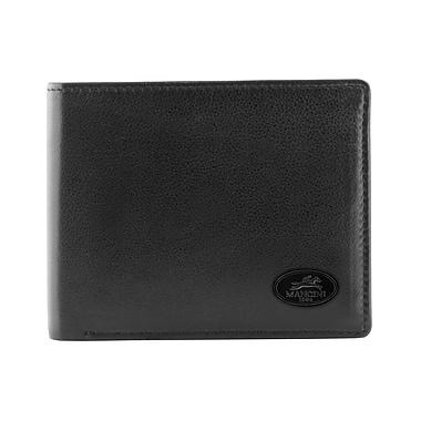 Mancini - Portefeuille pour hommes avec volet à gauche, collection Manchester, technologie RFID, cuir noir (2010101-BLACK)
