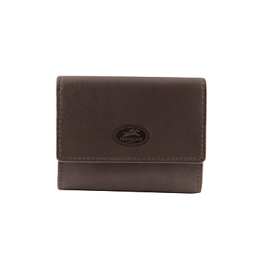 Mancini Manchester Collection Brown Leather RFID Secure Expandable Credit Card Case (2010138-BROWN)
