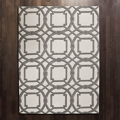 Global Views Arabesque Grey/Ivory Area Rug; Rectangle 6' x 9'