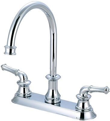 Pioneer Double Handle Kitchen Faucet; Polished Chrome