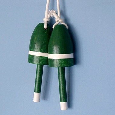 Handcrafted Nautical Decor Maine Lobster Trap Buoy Wall D cor (Set of 2); Dark Green