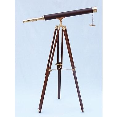Handcrafted Nautical Decor Floor Standing Leather Harbor Master Refractor Telescope; Brass