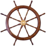 Handcrafted Nautical Decor Deluxe Class 48'' Wood and Brass Decorative Ship Wheel Wall D cor