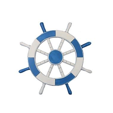 Handcrafted Nautical Decor Ship 18'' Decorative Ship Wheel Wall D cor; Light Blue and White