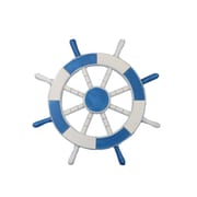 Handcrafted Nautical Decor Ship 18'' Decorative Ship Wheel Wall D cor; Light Blue and White