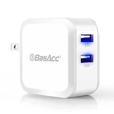 BasAcc 3 ft Lightning to USB Cable And 2-Port 4.8A AC Wall Charger For iPhone 6 Plus 5s iPad Air Mini (2117813)