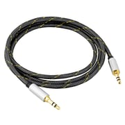 BasAcc 4' Premium Stereo 3.5mm Braided Audio Cable Male to Male Gold Plated M/M Silver