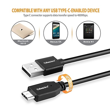 BasAcc 3.3 ft USB 2.0 Type C Male to USB Type A Male Cable, Black (2240785)