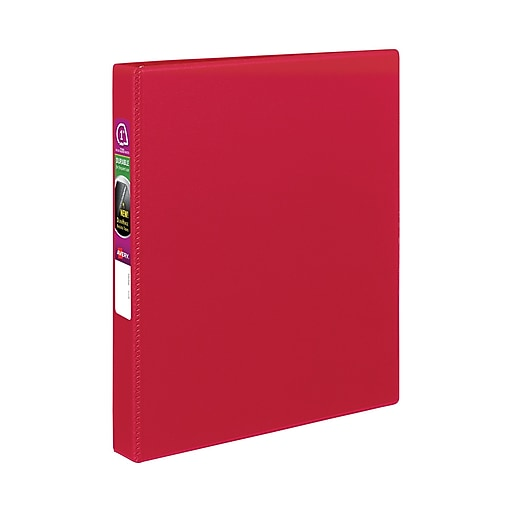 avery r durable binder with 1 slant rings 27201 red staples
