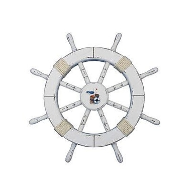 Handcrafted Nautical Decor Ship 18'' Decorative Ship Wheel w/ Seagull and Lifering Wall D cor; White