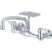 Central Brass Double Handle Wall Mounted Standard Kitchen Faucet w/ Soap Dish