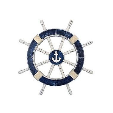 Handcrafted Nautical Decor Ship 18'' Decorative Ship Wheel w/ Anchor Wall D cor; Dark Blue