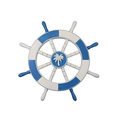 Handcrafted Nautical Decor Ship 18'' Decorative Ship Wheel w/ Palm Tree Wall D cor