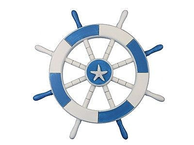 Handcrafted Nautical Decor Ship 18'' Decorative Ship Wheel w/ Starfish Wall D cor; Light Blue