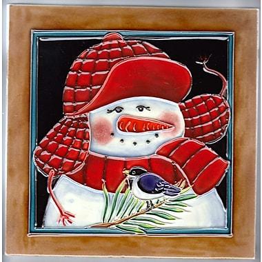 Continental Art Center Snowman Wearing Red Cap Tile Wall D cor
